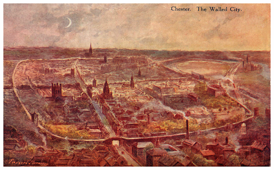 painted aerial view of Chester