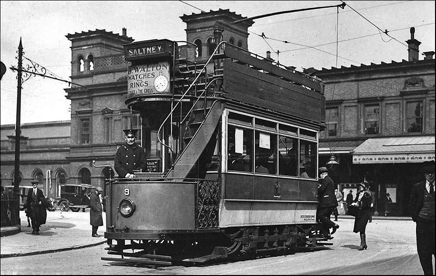 tram outside station